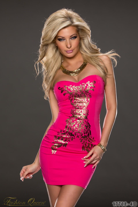 5eee0ee03466 Fashion Queen - Dámske oblečenie a móda - Minišaty so zlatou potlačou