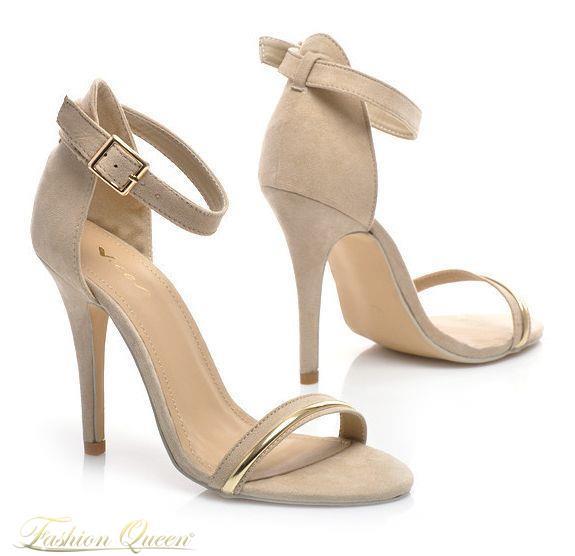 ef7ca65720b1 Jednoduché béžové sandále na zapínanie zdobené zlatým pásikom vám dodajú  ženskosť. Opätok  11cm. Vnútorná dĺžka  veľkosť 35  23cm  36 23