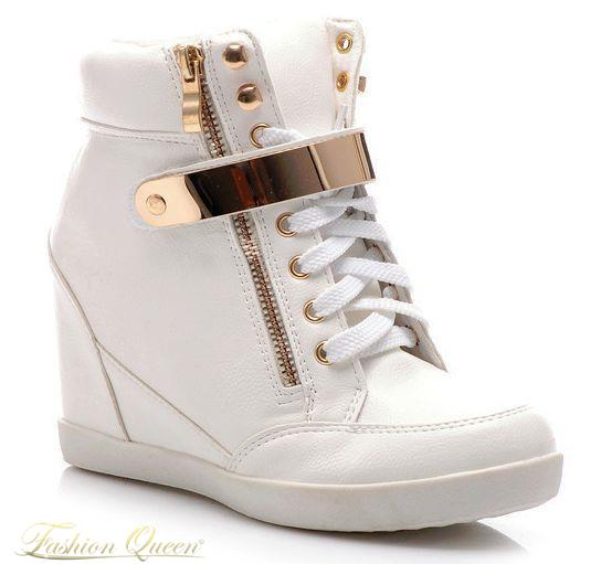 Fashion Queen - Dámske oblečenie a móda - Biele tenisky na platforme 436b504a49c