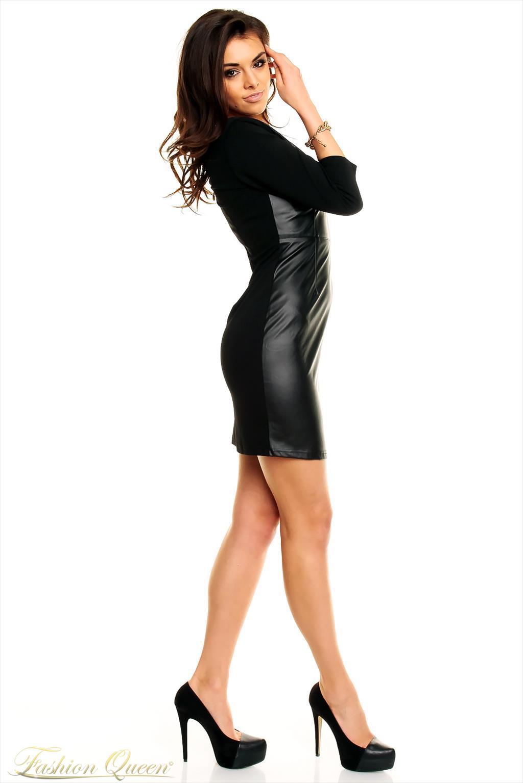 95258e8f2f13 Fashion Queen - Dámske oblečenie a móda - Kožené šaty s ¾ rukávom