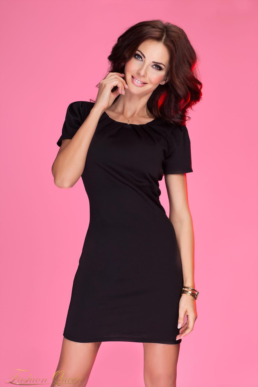 86047c9ae4bc Fashion Queen - Dámske oblečenie a móda - Čierne šaty s krátkym rukávom