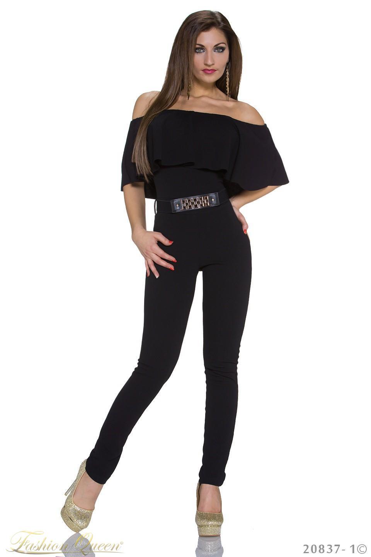 370383038edd Fashion Queen - Dámske oblečenie a móda - Dlhý čierny overal s opaskom