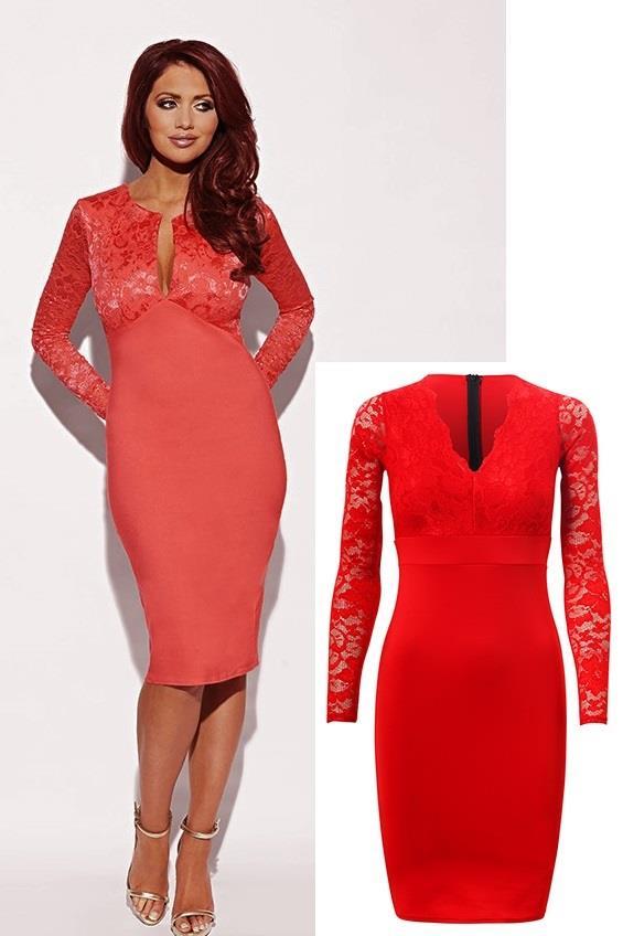 1a83c0c5e322 Fashion Queen - Dámske oblečenie a móda - Čipkované šaty s dlhým rukávom