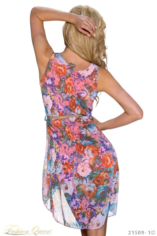 Fashion Queen - Dámske oblečenie a móda - Kvetované šifónové šaty d04516e59a6