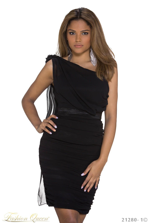 e0a8788de2a6 Fashion Queen - Dámske oblečenie a móda - Čierne šaty s kvetom