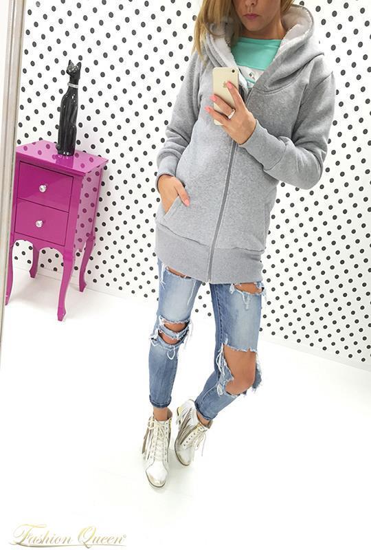 Fashion Queen - Dámske oblečenie a móda - Teplá mikina predĺžená 269d02d0f74