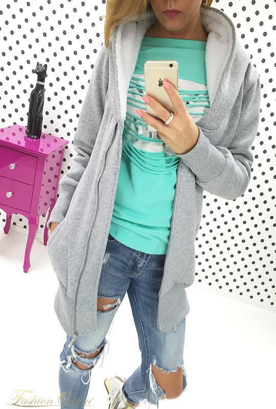 9c13e1ea4 Fashion Queen - Dámske oblečenie a móda - Teplá mikina predĺžená