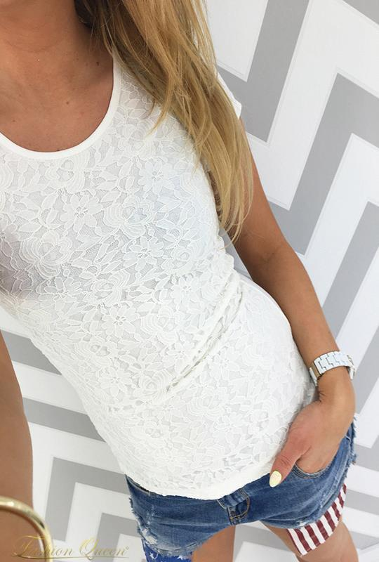 Fashion Queen - Dámske oblečenie a móda - Tričko s čipkou eca532efa60