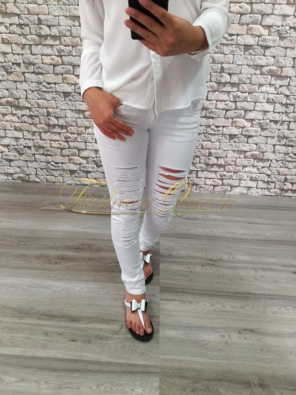 86ffb0f4deb0 Fashion Queen - Dámske oblečenie a móda - Roztrhané nohavice biele