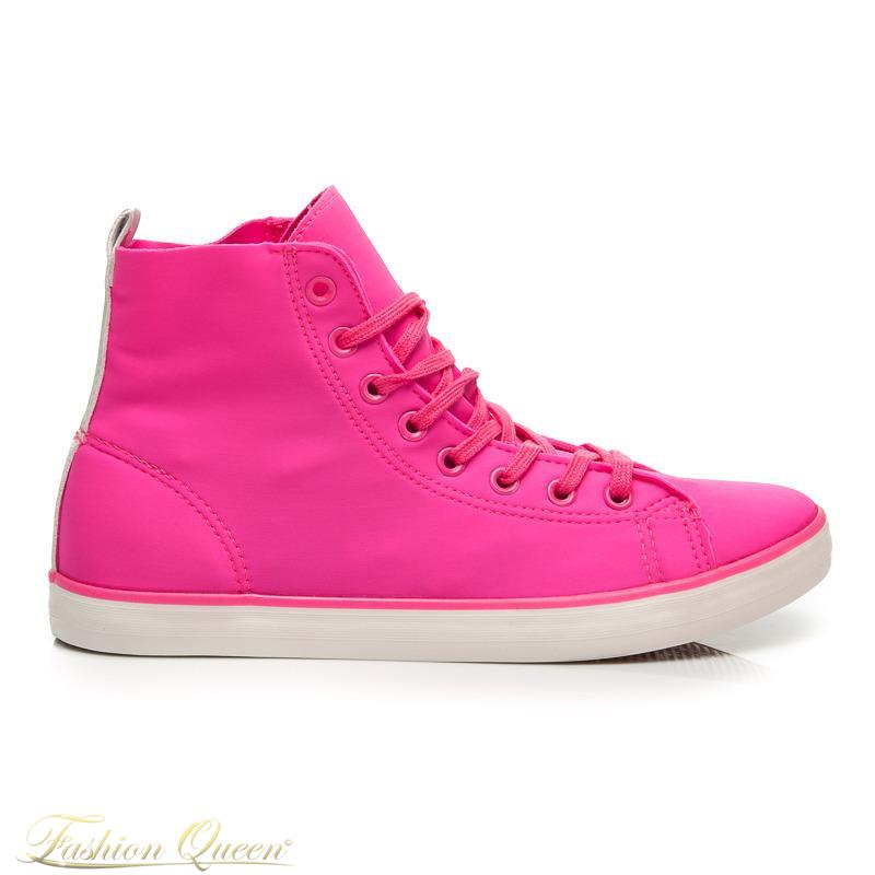 b8fc3a27f4016 Fashion Queen - Dámske oblečenie a móda - Ružové vysoké tenisky