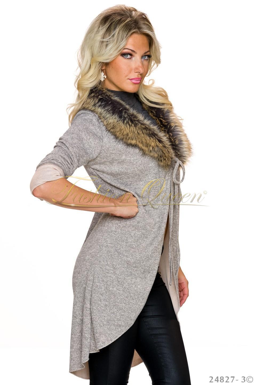 6b2d1a69322c Fashion Queen - Dámske oblečenie a móda - Dlhý sveter s kožušinou