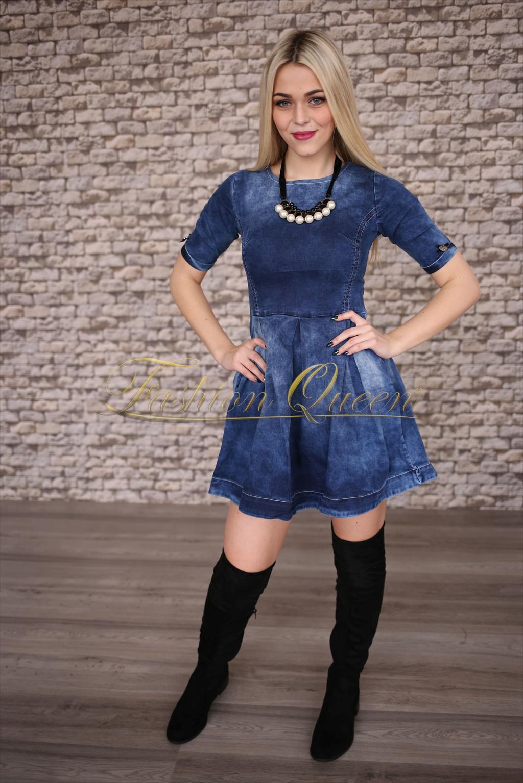 Fashion Queen - Dámske oblečenie a móda - Áčkové rifľové šaty 870295a941a