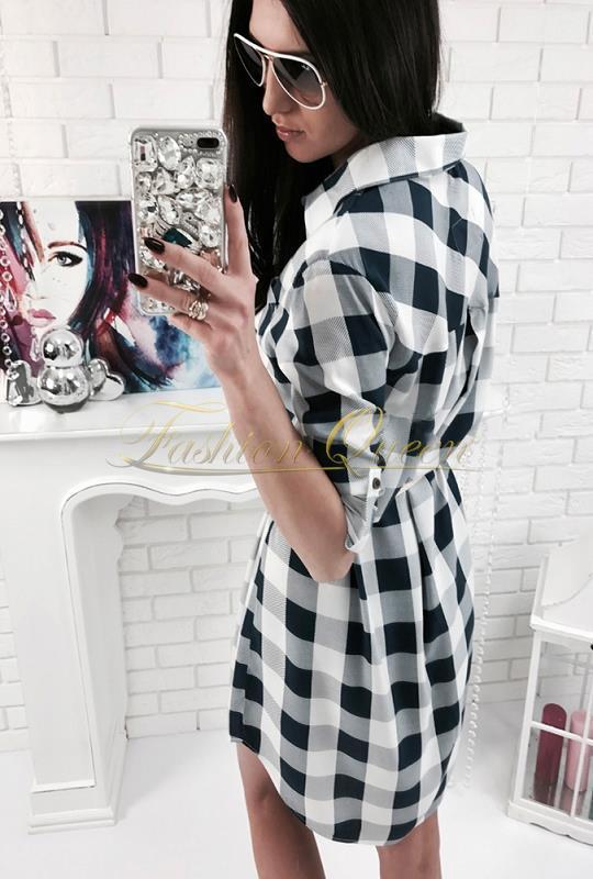 40d13f2c8820 Fashion Queen - Dámske oblečenie a móda - Károvaná košeľa predĺžená