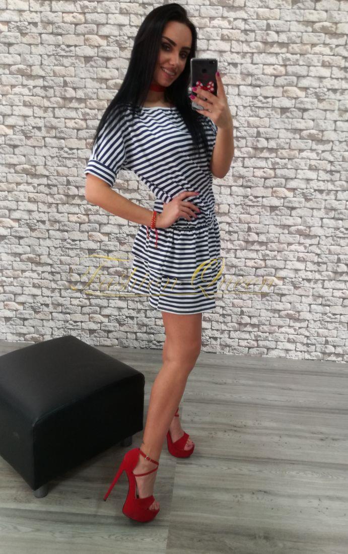1e9f058b9444 Fashion Queen - Dámske oblečenie a móda - Pásikavé šaty s volánmi