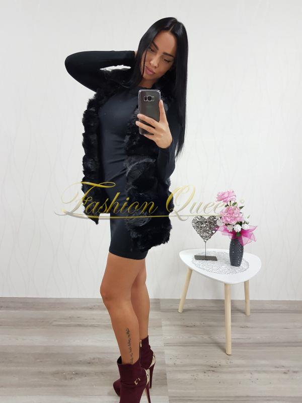 847289b25b41 Fashion Queen - Dámske oblečenie a móda - Čierna kožušinová vesta krátka