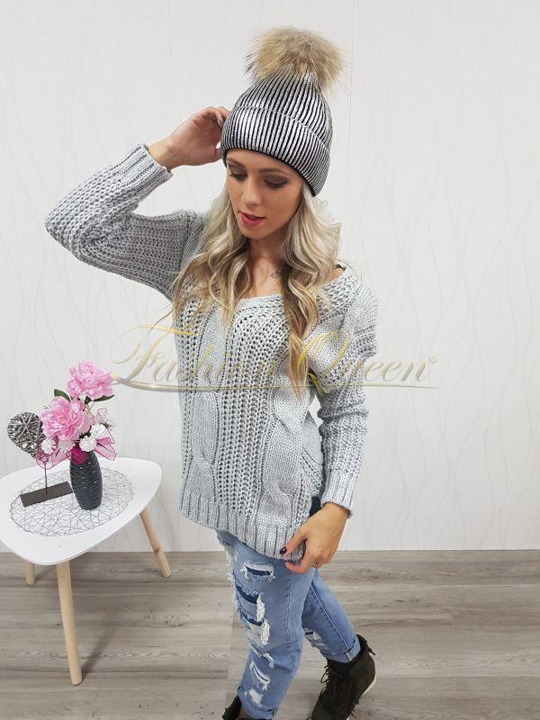 3b57410a2 Fashion Queen - Dámske oblečenie a móda - Strieborná čiapka s pravou ...